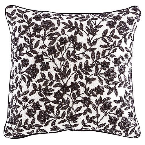 Yorkville 18x18 Square Pillow, Black/White Linen
