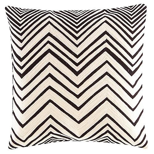 Yorkville 18x18 Square Pillow, White/Black