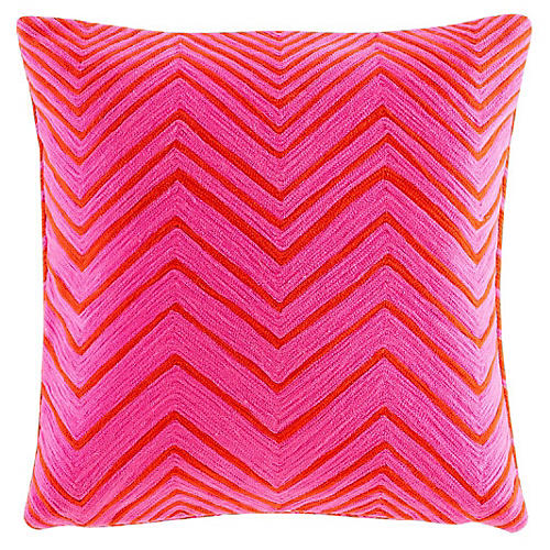 Yorkville 18x18 Square Pillow, Pink/Red