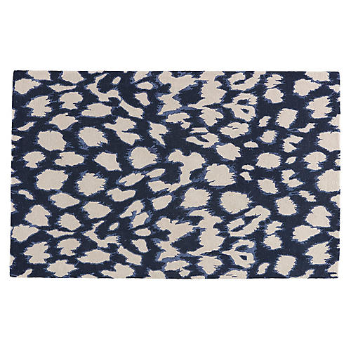 Animal Pattern Rug, Dark Navy