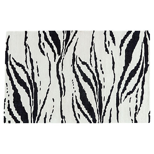 Animal Pattern Rug, Light Cream/Black