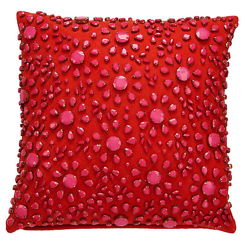 Yorkville 18x18 Novelty Pillow, Red/Pink