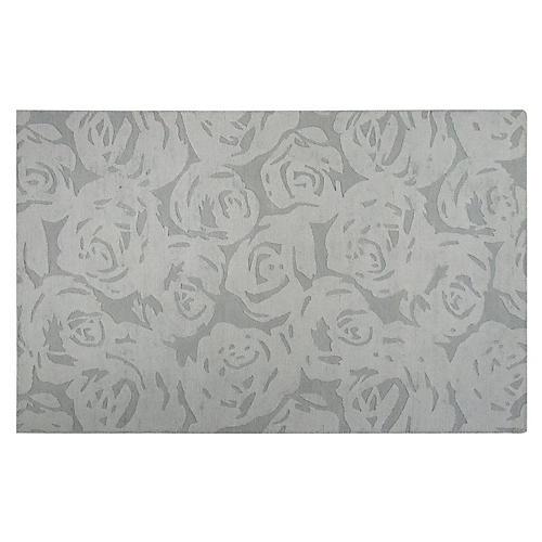Astor Floral & Leaves Rug, Platinum