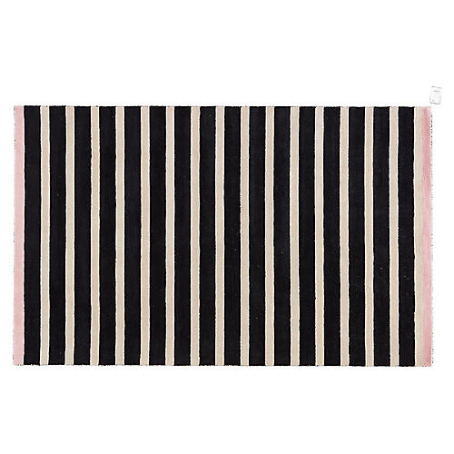 Stripes Rug, Black/Pink