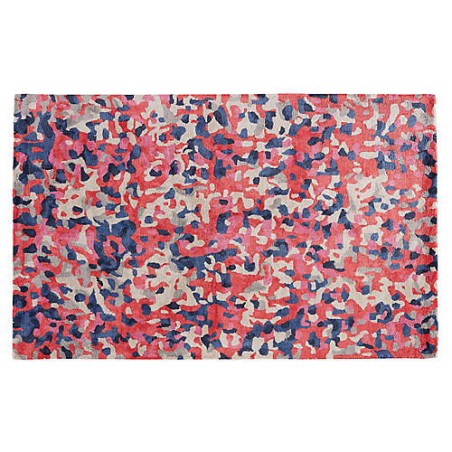 Bowery Abstract Rug, Coral