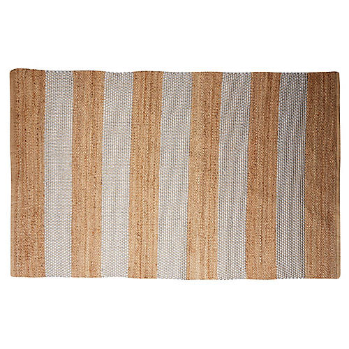 Stripes Jute-Blend Rug, Silver
