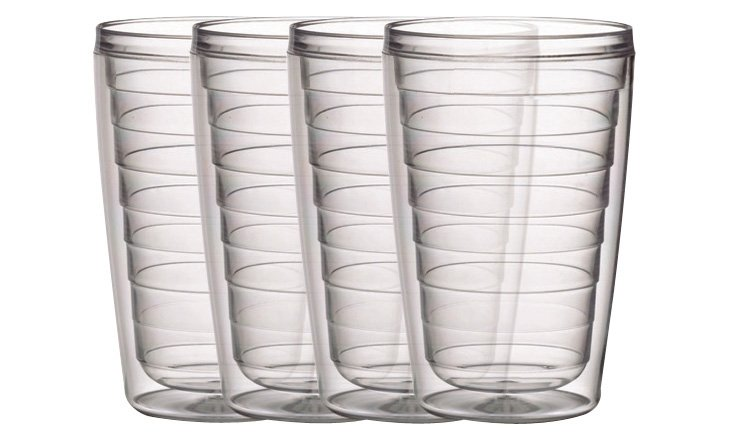 S/4 Clear Insulated Tumblers, 16 Oz