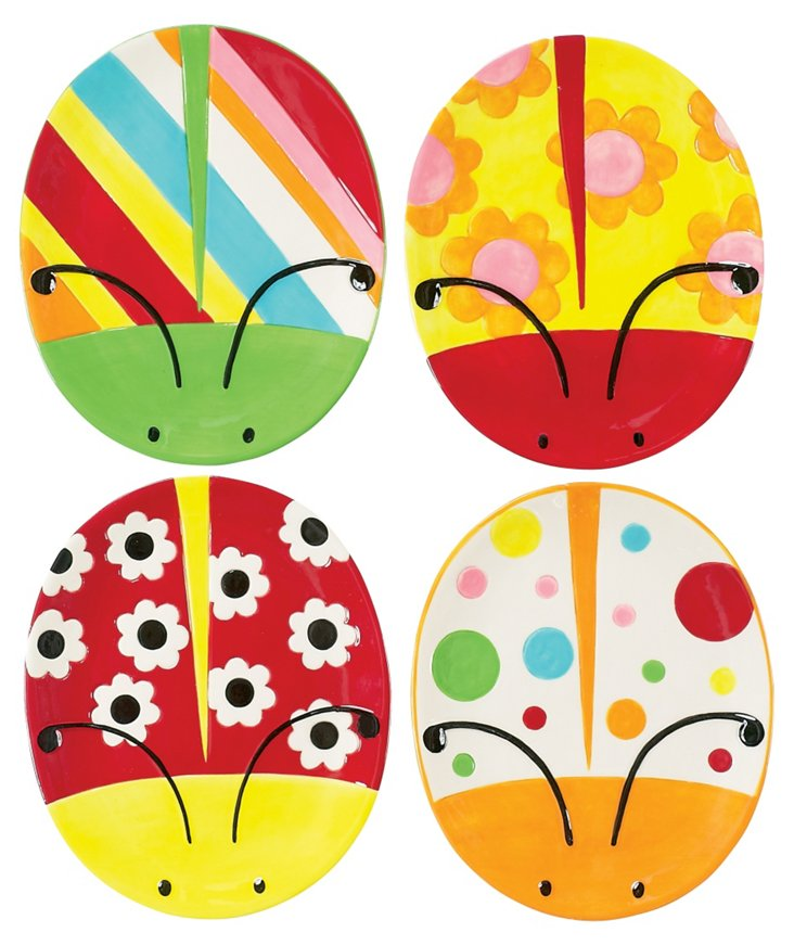 Set of 4 Ladybug Garden Shaped Plates
