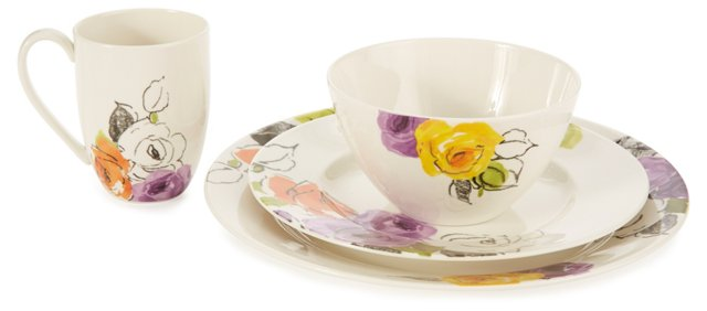 4-Pc Porcelain Charcoal Floral Setting