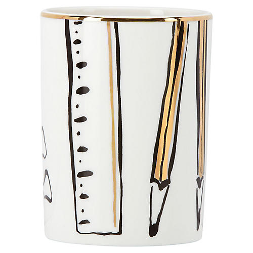 "4"" Daisy Place Pencil Holder, White/Multi"