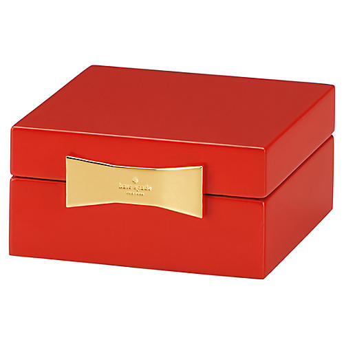 Garden Drive Square Jewelry Box, Red