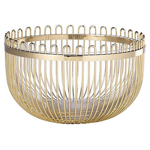 "10"" Keaton Street Decorative Bowl, Gold"