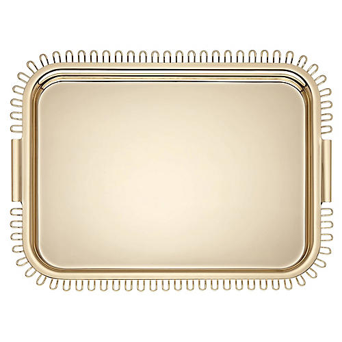 "19"" Keaton Street Large Tray, Gold"
