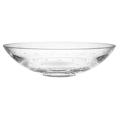 "13"" Larabee Dot Large Bowl, Clear"