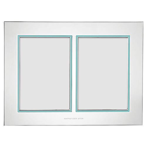5x7 Take the Cake Double Frame, Silver/Teal