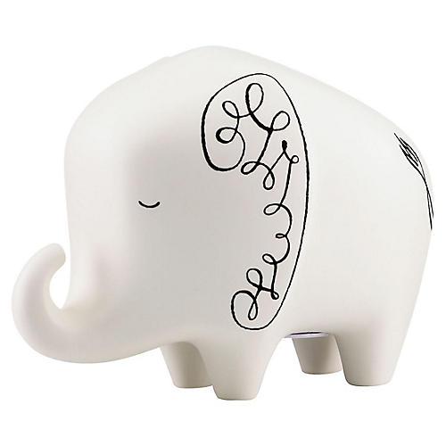 """8"""" Woodland Park Elephant Bank, White/Black"""