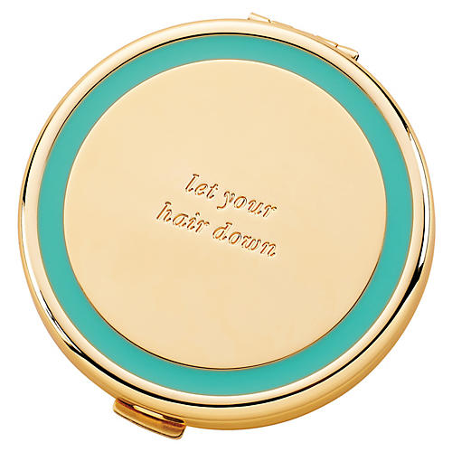 "3"" Let Your Hair Down Compact, Turquoise/Gold"