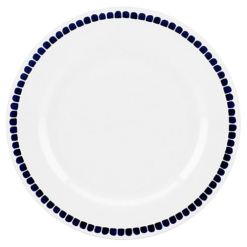 Charlotte Street North Dinner Plate, White/Blue