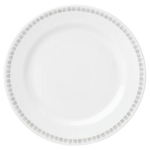 Charlotte Street North Dinner Plate, White/Gray