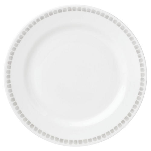 Charlotte Street North Dinner Plate, White/Gray