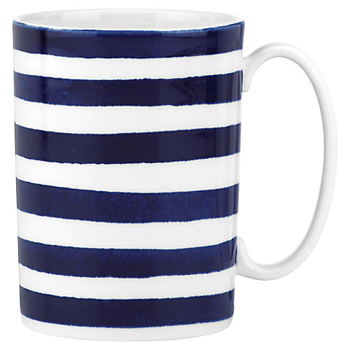 Charlotte Street North Mug, White/Blue
