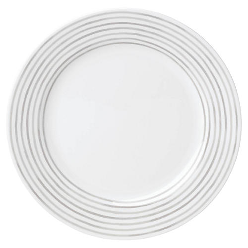 Charlotte Street East Dinner Plate, White/Gray