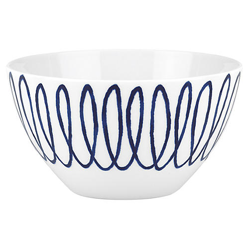 Charlotte Street East Soup Bowl, White/Blue