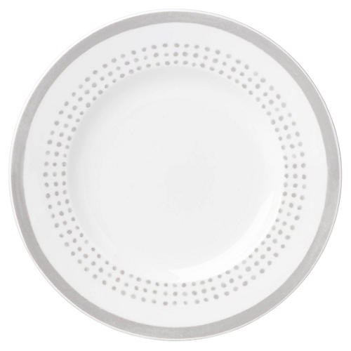 Charlotte Street East Salad Plate, White/Gray