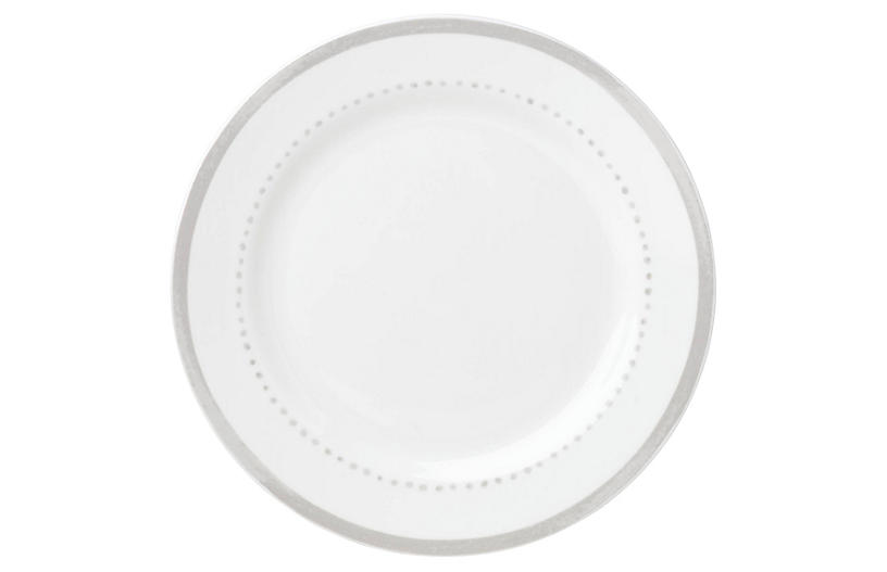 Charlotte Street West Dinner Plate, White/Gray