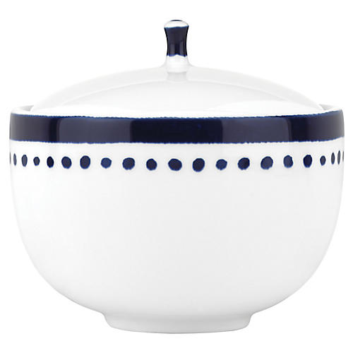 Charlotte Street Sugar Bowl, White/Blue
