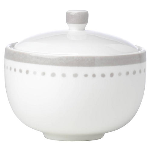 Charlotte Street Sugar Bowl, White/Gray