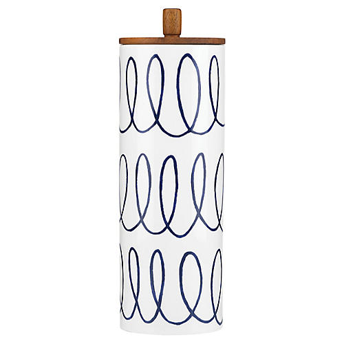 Charlotte Street Striped Canister, White/Blue