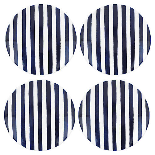 S/4 Charlotte Street Tidbit Plates, Blue/White