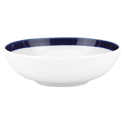 Charlotte Street Fruit Bowl, White/Blue
