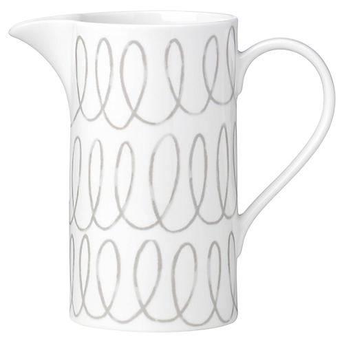 Charlotte Street Pitcher, White/Gray