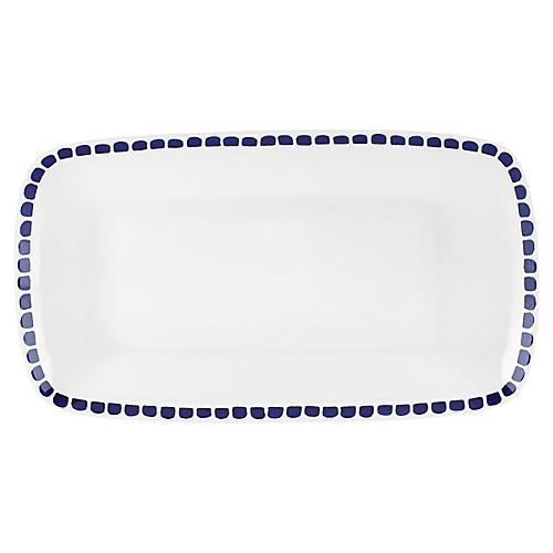 Charlotte Street Serving Tray, White/Blue