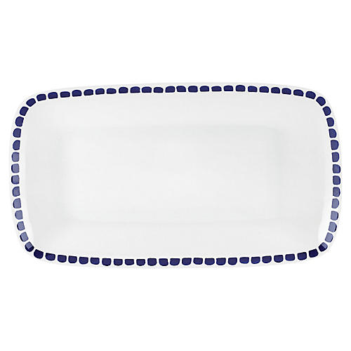 Charlotte Street Serving Tray, White/Blue
