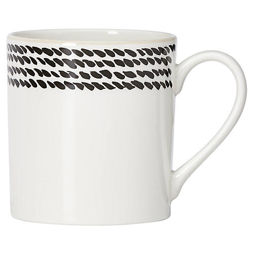 Avalon Place Mug, White/Black