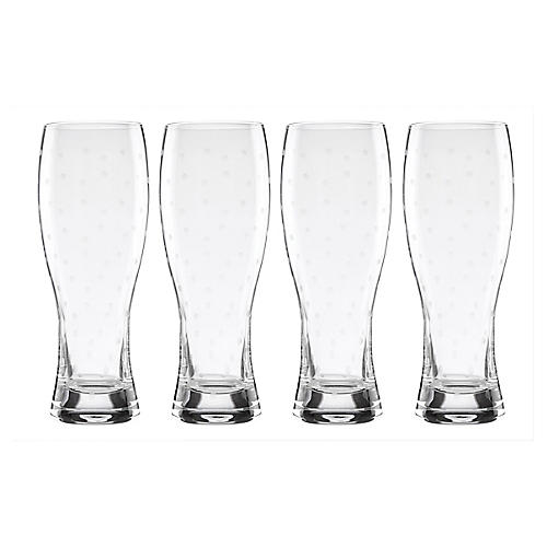 S/4 Larabee Dot Beer Glasses, Clear