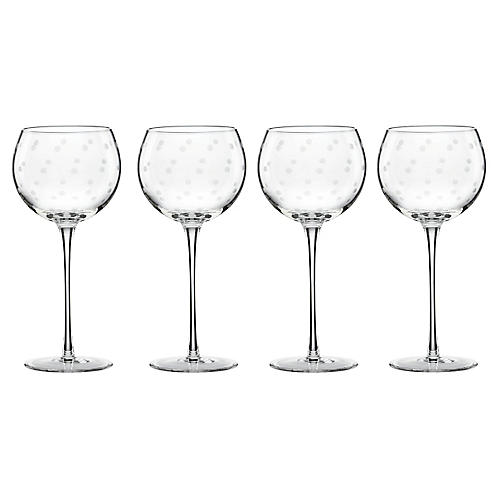 S/4 Larabee Dot Balloon Wineglasses, Clear