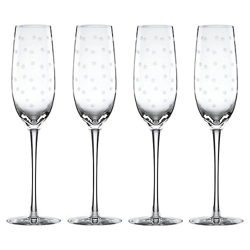 S/4 Larabee Dot Champagne Flutes, Clear