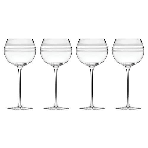 S/4 Library Stripe Balloon Wineglasses, Clear