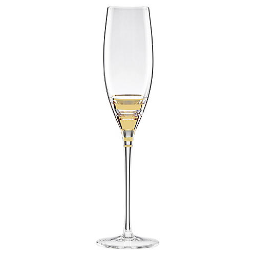 Hampton Street Champagne Flute, Clear/Gold