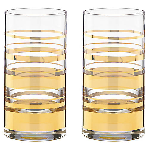 S/2 Hampton Street Highball Glasses, Clear/Gold