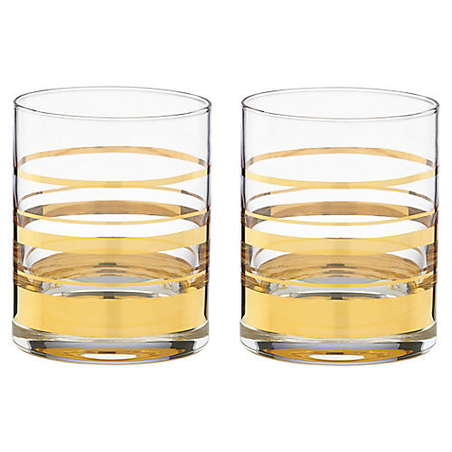 S/2 Hampton Street DOF Glasses, Clear/Gold