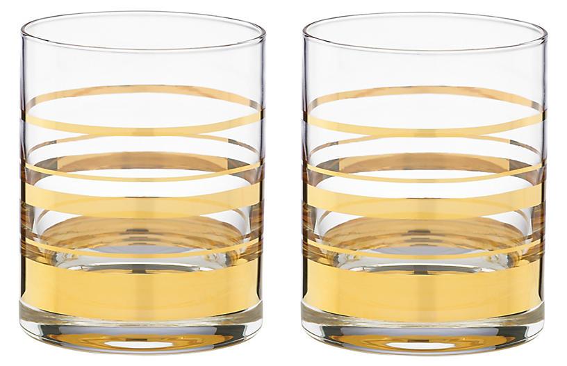 S/2 Hampton Street DOF Glasses, Clear/Gold