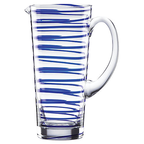 Charlotte Street Pitcher, Clear/Blue