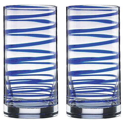 S/2 Charlotte Street Highball Glasses, Clear/Blue