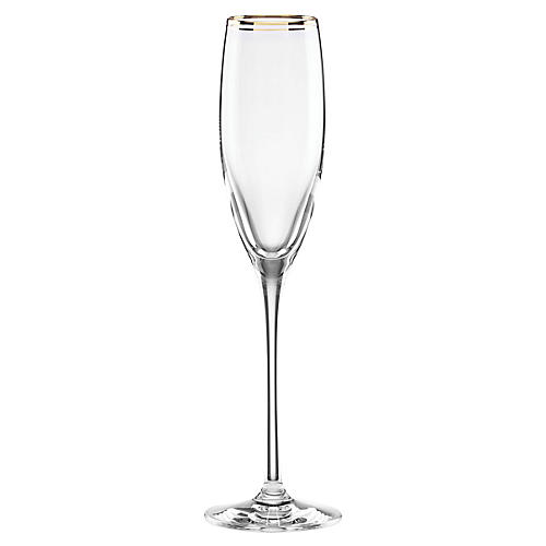 Orleans Square Champagne Flute, Clear/Gold