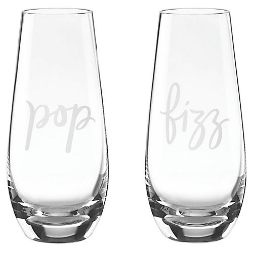 S/2 Pop & Fizz Stemless Champagne Flutes, Clear